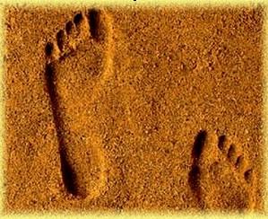 Les empreintes dans le sable